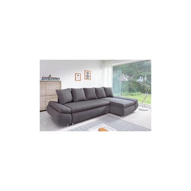 Sans Marque Oliver Canape Dangle Reversible Convertible 4 Places + Coffre De Rangement - Tissu Gris Anthracite - L 273 X P 101 - 148