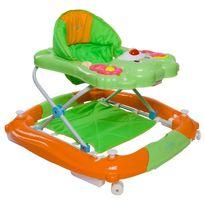 Sun Baby - Trotteur youpala balancelle interactive bébé 6-12 mois Petit Ours | Vert et Orange
