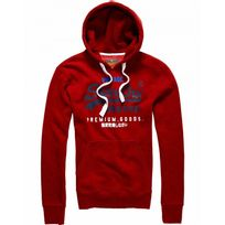 Superdry - Sweat à capuche Premium Goods Tricolore Red