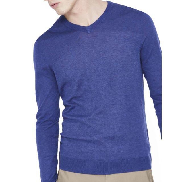 CELIO - Pull droit en coton cachemire - Bleu - pas cher Achat ... 85f5a47dcc64