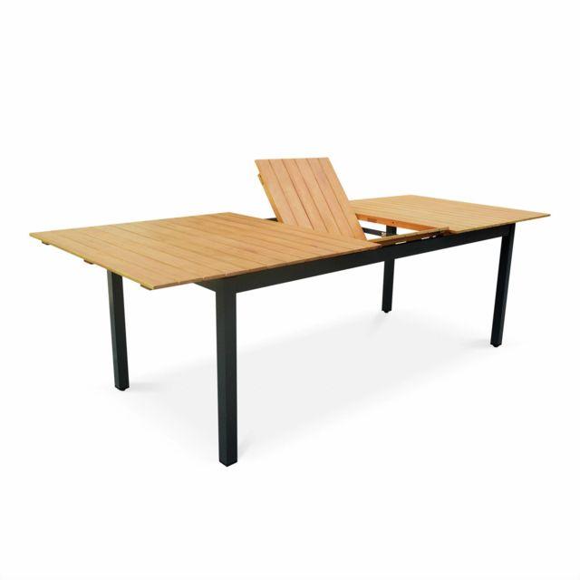 Salon de jardin en bois Sevilla aluminium extensible table200/250cm avec  rallonge, 8 fauteuils, en aluminium, bois d\'Eucalyptus FSC huilé et  textilène ...