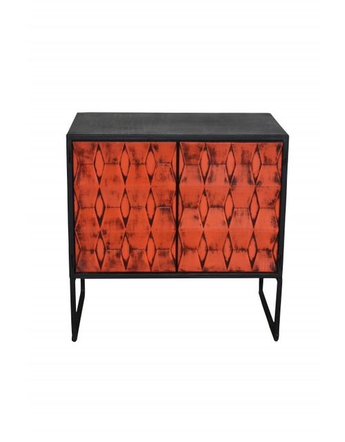 Decoshop Commode industrielle orangée