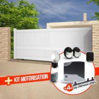 EMALU - Portail alu coulissant motorisé droit blanc 3x1,60m droite -MELVILLE NICE-ROAD400