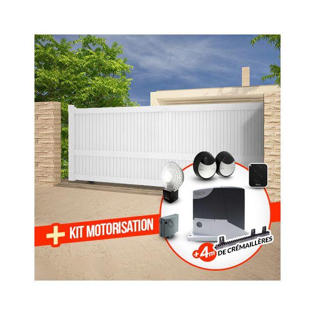 Emalu Portail Alu Coulissant Motorise Droit Blanc 3x1 60m Droite Melville Nice Road400 Pas Cher Achat Vente Portail En Aluminium Rueducommerce