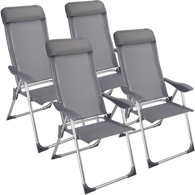 rocambolesk superbe lot chaise camping pliante avec coussin 4x chaises pliables aluminium exterieur neuf nc - Chaises Pliables