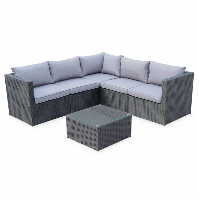 Salon de jardin résine tressée - Siena - Coloris noir, coussins gris,  structure aluminium, canapé d\'angle d\'extérieur,5 places