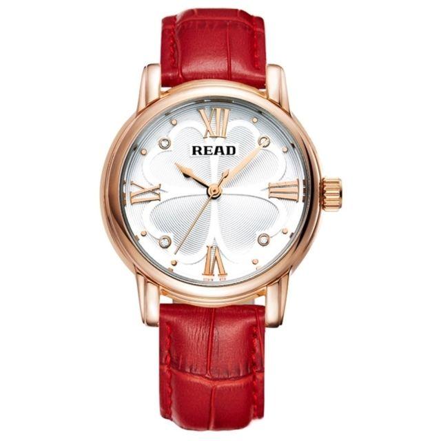 Wewoo - Montre rouge Roman Numéro Échelle Trèfle À Quatre Feuilles Cadran  Design Quartz Femmes avec. Couleur de bracelet ... b90fc37a783