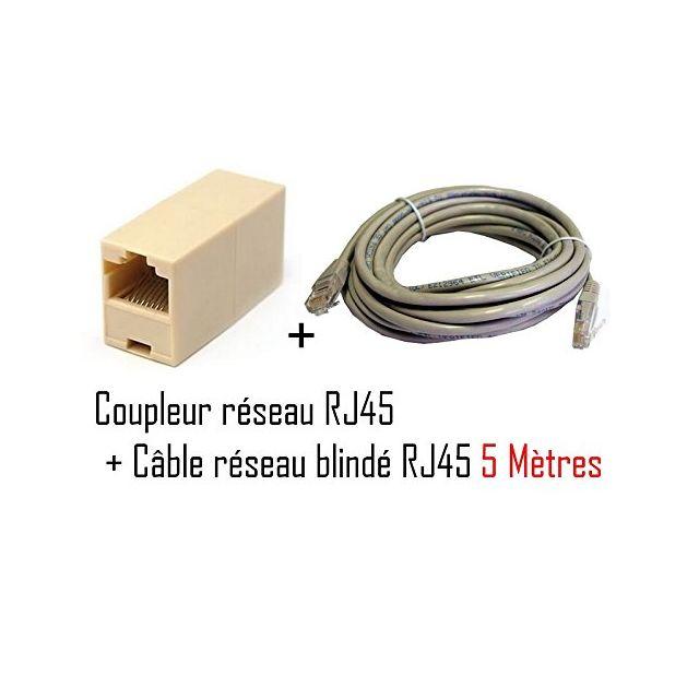 cabling pack coupleur rj45 f f cable rj45 ethernet 5m. Black Bedroom Furniture Sets. Home Design Ideas