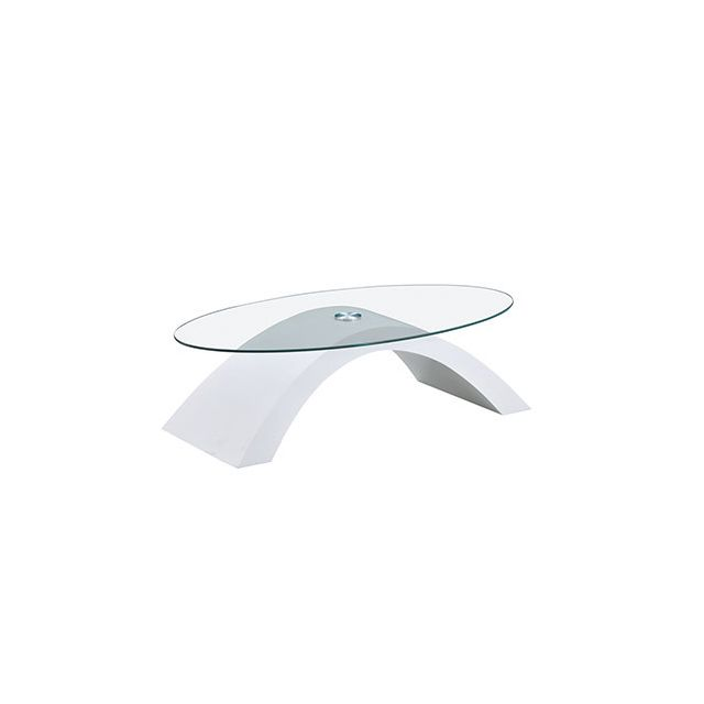 Table basse plateau verre piétement décor blanc