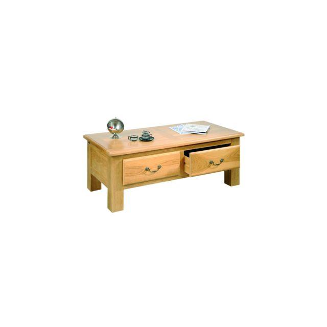 Hellin table basse de salon mansart bois ch ne massif ch ne clair 60cm x 120cm x 45cm - Table basse chene clair pas cher ...