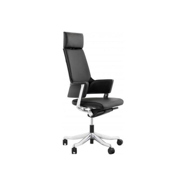 Kokoon Design Chaise de bureau ergonomique cuir noir Ivy