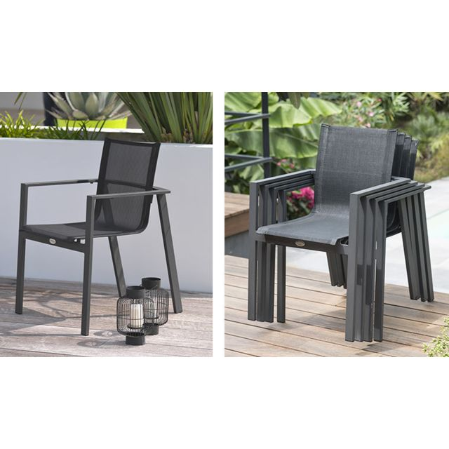 Salon jardin Miami table extensible et 6 fauteuils