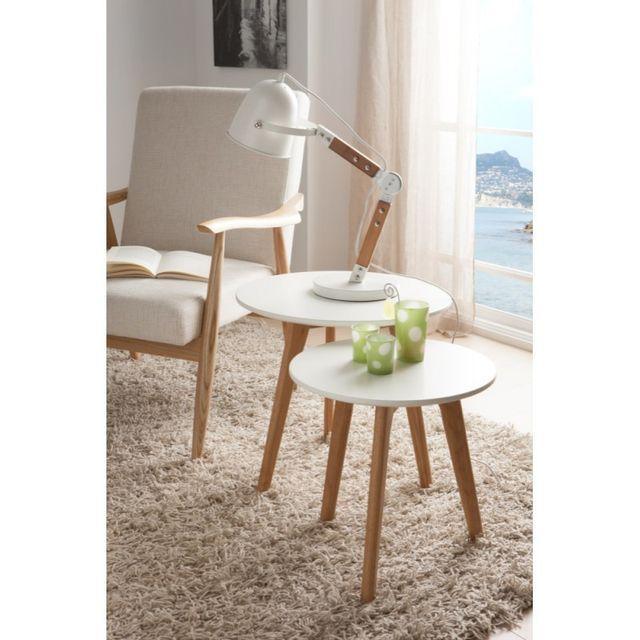 Ma Maison Mes Tendances Lot de 2 tables basses rondes en bois laqué blanc semi-mat et chêne Gemma - L 50 x H 45