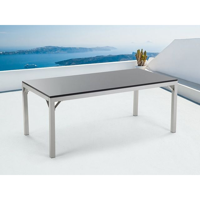 Beliani Table de jardin - Table en granit - Aluminium - 180x90 cm - Noire - Torino