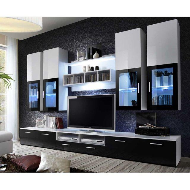 Paris Prix Meuble Tv Mural Design Lyra 300cm Noir Blanc Pas