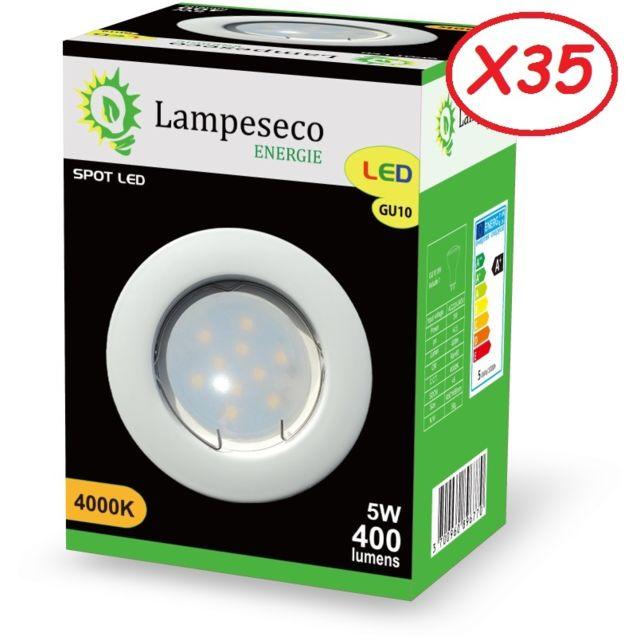 Lampesecoenergie Lot de 35 Spot Led Encastrable Complete Blanc Lumière Blanc Neutre 5W eq.50W ref.770