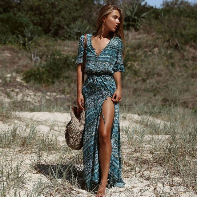 2cf641d0f4a Wewoo - Robe Femme Les femmes d été élégant fleur impression décontracté  Bohème Vintage Beach