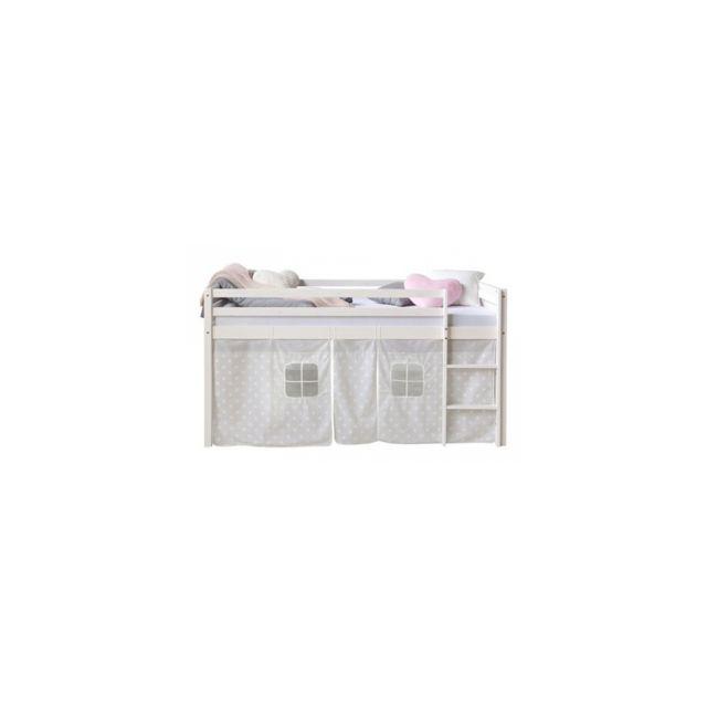 Homestyle4U Lit mezzanine 90x200 rideau design etoiles blanches