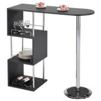 IDIMEX - Table haute de bar VIGANDO mange-debout comptoir piètement métal chromé 3 tablettes bois MDF gris mat