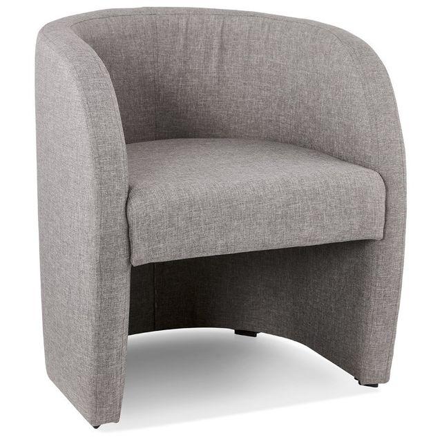 Alterego Fauteuil de salon design 1 place 'TOM' en tissu gris