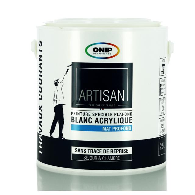 onip peinture blanche sp ciale plafond mat 2 5 ou 10l pas cher achat vente peinture. Black Bedroom Furniture Sets. Home Design Ideas
