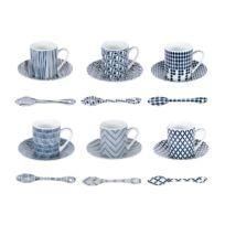 Table Passion - Set de 6 tasses à café et cuillère motifs graphiques originaux bleu en porcelaine Indigo