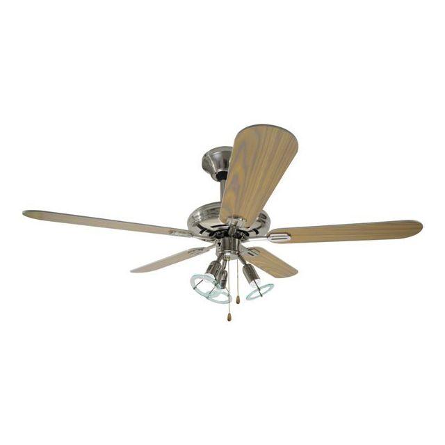 rovex ventilateur de plafond bois pin 3 lumi res 3 vitesses 5 pales reversible diam 130 cm. Black Bedroom Furniture Sets. Home Design Ideas