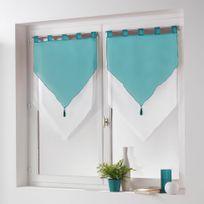 L3C - Cdaffaires New paire pompon passants 2 x 60 x 90 cm voile bicolore azur Blanc/Bleu