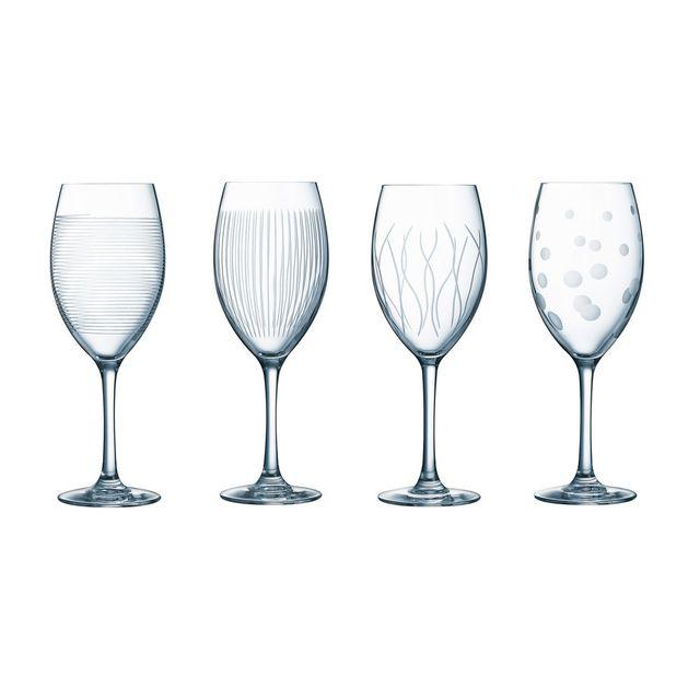 Luminarc Verre à vin 35cl motifs gravés - Lot de 4 pièces Lounge Club