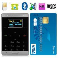 Yonis - Mini téléphone portable débloqué format carte bleue mobile noir