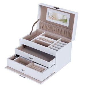 helloshop26 coffret bo te pr sentoir bijoux montres blanc luxe 2012023 pas cher achat. Black Bedroom Furniture Sets. Home Design Ideas