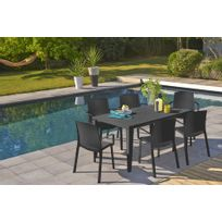 Ensemble table + 6 chaises anthracite