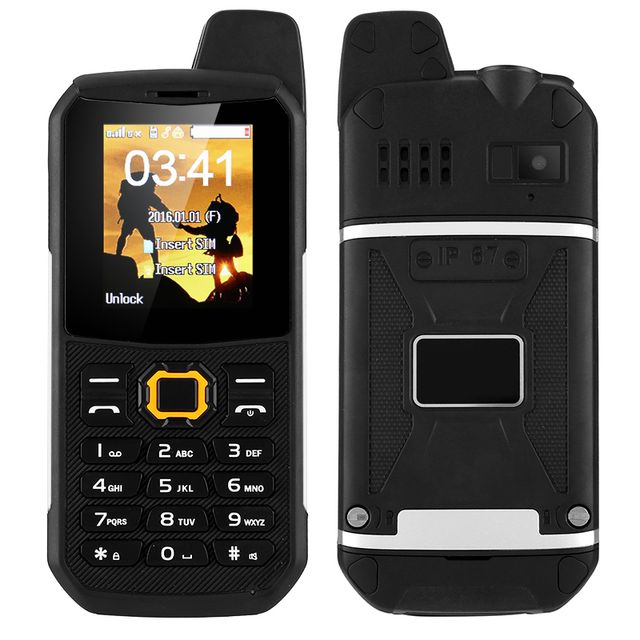Shopinnov Téléphone portable Robuste Ip67 Talkie walkie Double Sim Radio Fm Powerbank Noir