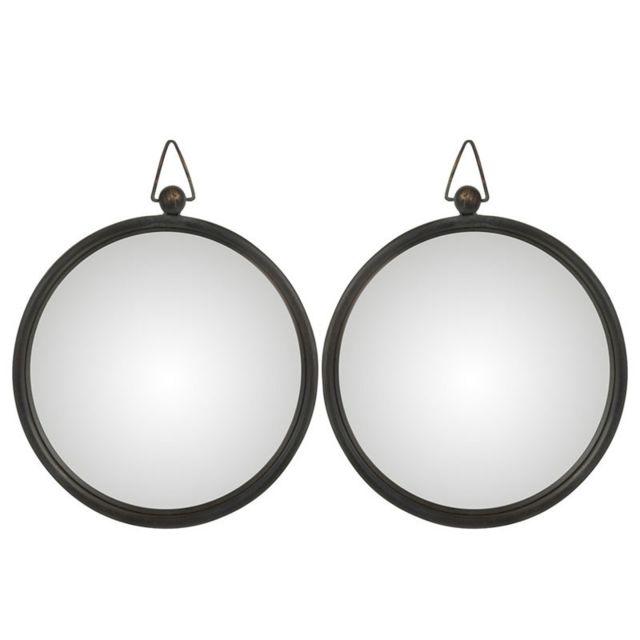 Tousmesmeubles Duo de Miroirs Métal noir taille S - Tolfetano