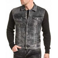 BLZ Jeans - Veste en jean noir délavé usé et manches mailles
