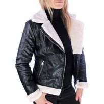 Cendriyon - Manteau Noir simili cuir Wulux