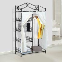 HOMCOM - Armoire penderie multi rangements 5 étagères métal noir motif fleurs 2 rideaux blanc neuf 50