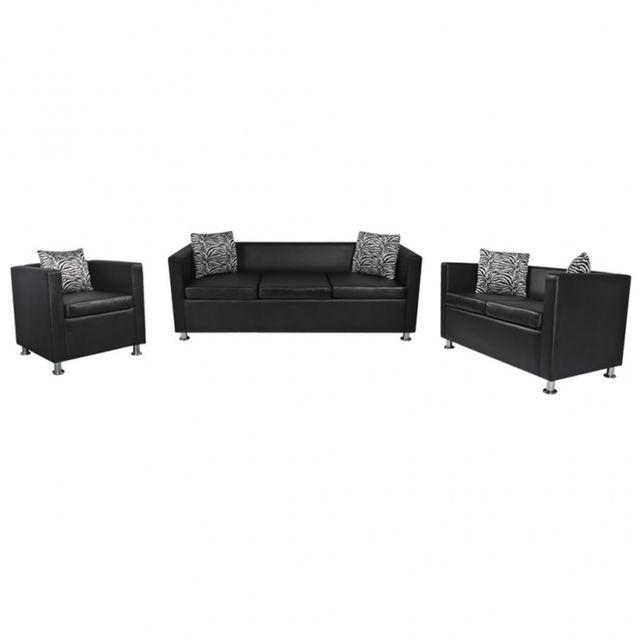 Casasmart Set canapé 3 places, 2 places et Fauteuil cube en cuir artificiel noir