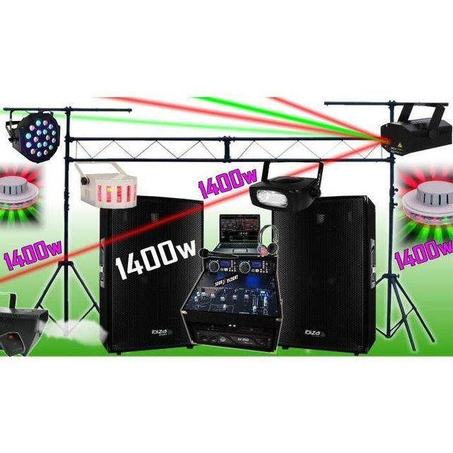Ibiza Sound Sono dj complète 1400w - portique - 6 jeux de lumière - fumée - ampli enceintes cd mixage micro dj casque - la totale pa