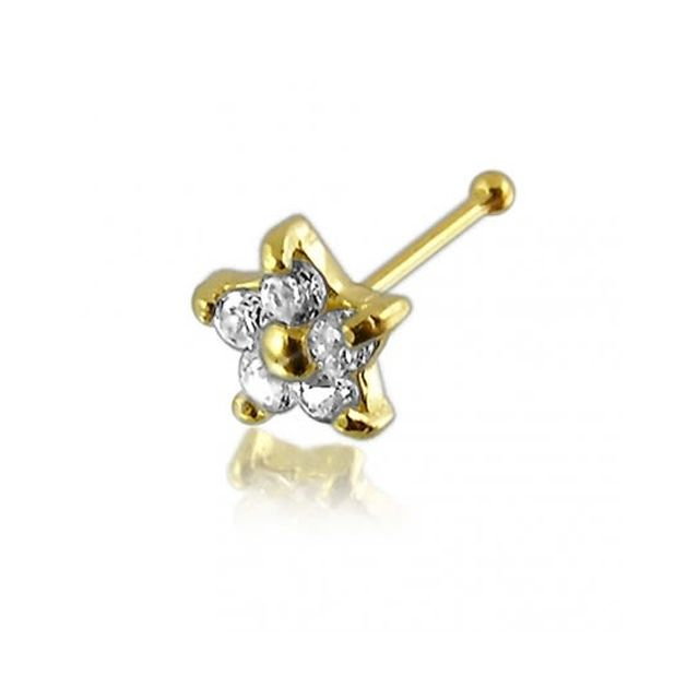 Sans Marque Bijou Piercing Épingle De Nez En Or Massif 14 carats Diamants Véritables