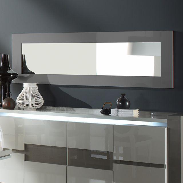 Nouvomeuble Grand miroir gris laqué design Rimio