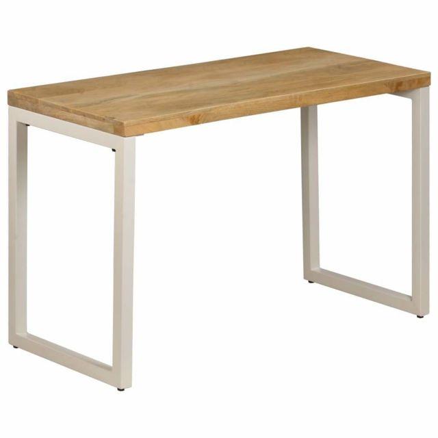 Helloshop26 Table de salon salle à manger design 115 cm bois de manguier et acier 0902126
