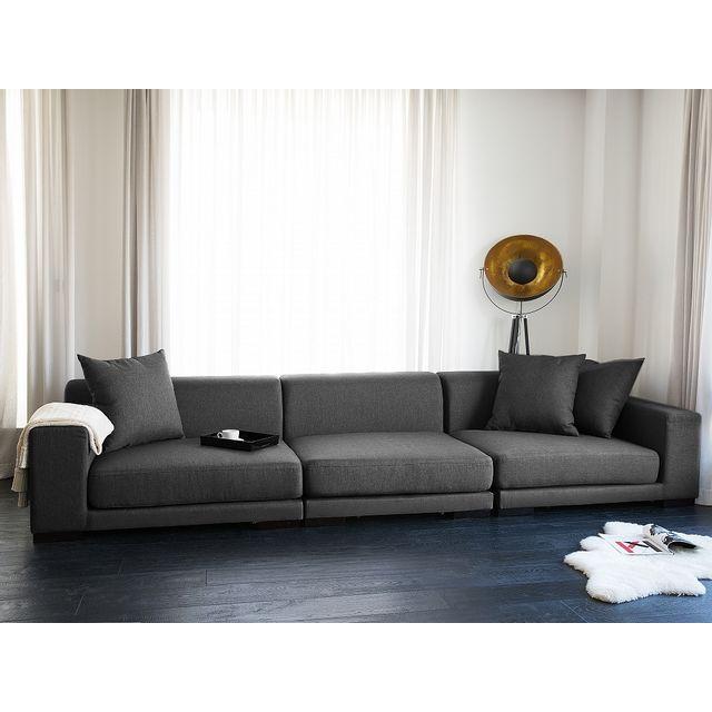 Beliani Canapé 3 places - canapé en tissu gris foncé- sofa - Cloud