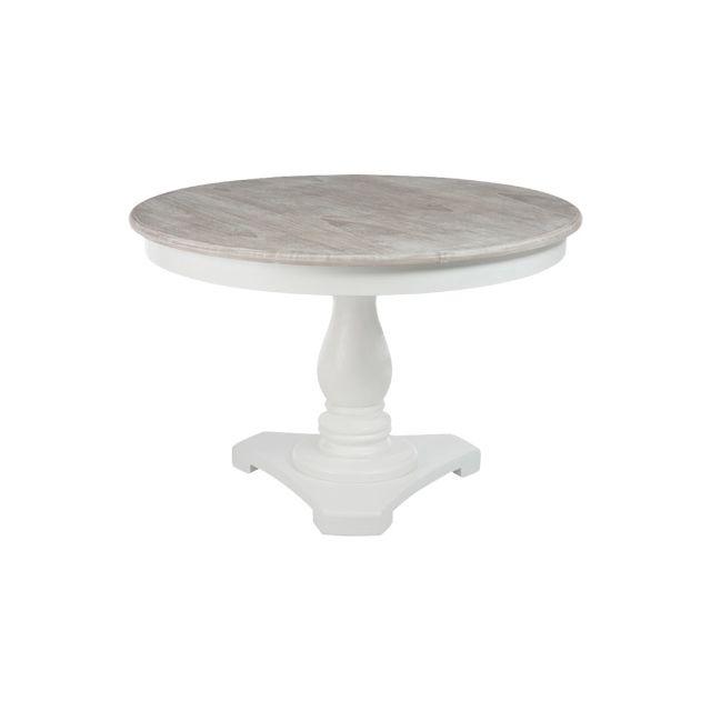 Table ronde en bois coloris blanc diamètre 120cm