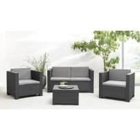 Bobochic - Salon de jardin Diva 4 places en résine tressé gris anthracite