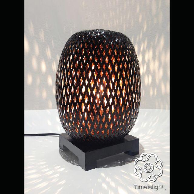 Time Is Light Lampe De Chevet En Bambou Tresse Double Peau Laque