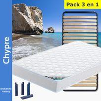 Altobuy - Chypre - Pack Matelas + Lattes 90x190 + Pieds