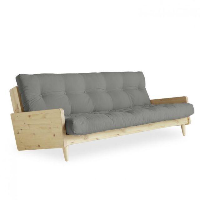 Inside 75 Canapé 3/4 places convertible Ingrid style scandinave futon gris couchage 130 190 cm