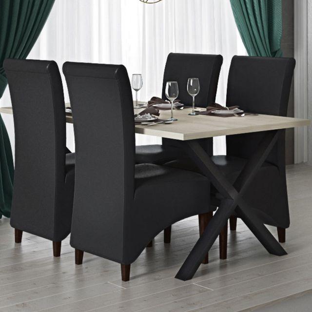 Kasalinea Table à manger 180 cm moderne couleur chêne clair et noir Rosie