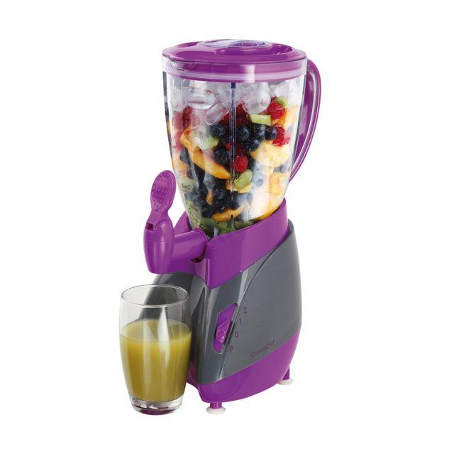 DOMOCLIP Blender avec robinet verseur gris/violet DOP141GVI Blender - Avec bol amovible plastique de 1,5 L - 2 vitesses - Fonction pulse - Couvercle avec ouverture de remplissage - 1 couteau 4 lames en acier inoxydable - Indicateur de niveau - Pieds antid
